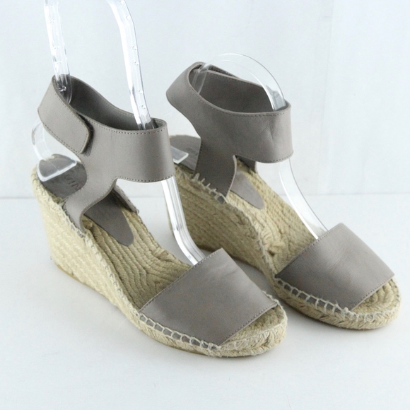 192032d7ae7 Vince Leather Wedge Espadrilles Sandals Taupe 8